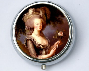 Marie Antoinette pillbox Pill case box holder holding a Rose French Queen History revolution