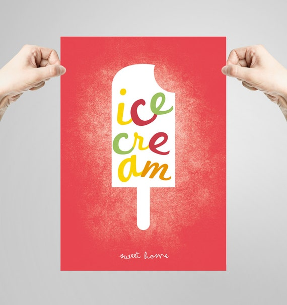 Wall art decor. Picture ice cream. Printable art. Ilustration. Digital print. Instant digital download