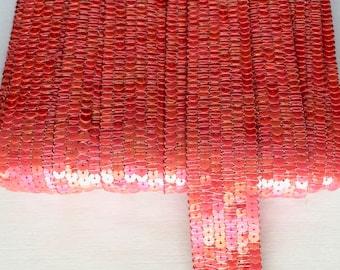 Galon paillettes sequins rond ORANGE CORAIL sur 6 rangs vendu a la coupe à partir de 20cm