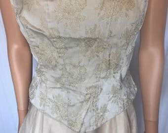 Evening Gown Dazzling Vintage Tea Length Dress Champagne with Satin Brocade Bodice by Dave & Johnny for Laura Ryner size 3-4 Prom Sweet 16