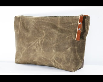 Unisex Zippered heavy canvas pouch with leather accents by AlexMLynch - made in USA