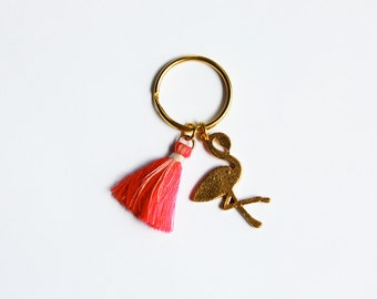 Flamingo Keychain - Ombre Tassel Keyring - Key Hanger - Bag Charm - Boho Accessories - Gifts For Her - Small Gift