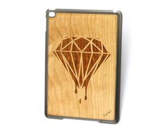 iPad Air case, iPad Mini case, iPad Mini 2 case, iPad 3 case, iPad engraved case, custom iPad case,Dripping Diamonds wood engraved case