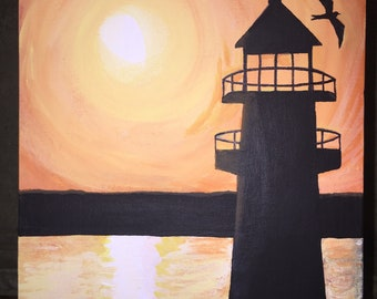 """Sunset over the Lighthouse, 8""""x10"""" acrylic painting, acrylic canvas painting, flat canvas painting 8"""" x10"""""""