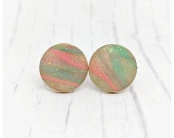 Pink and blue earrings faux stone earrings nickel free earrings lightweight earrings gold granite earrings gift for her stone earrings