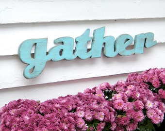 Gather Sign Rustic Farmhouse Style Gather Kitchen Sign Gather Wood Sign Restaurant Sign Cafe Sign Kitchen Wall Decor