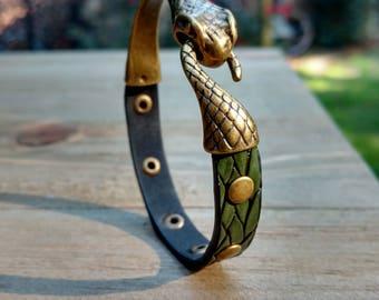 Salazar Edition Ouroboros Bracelet. Made to Order! Tags: Green Snake, Serpent Bracelet, Snake Clasp Bracelet, slytherin (S002)