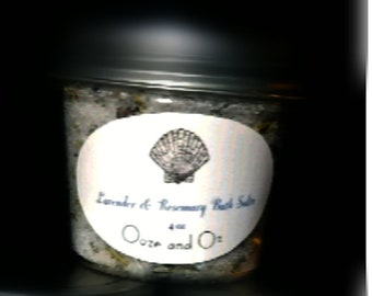 Handcrafted Lavender and Rosemary Mineral bath salts dead sea salt Himalayan essential oil infused