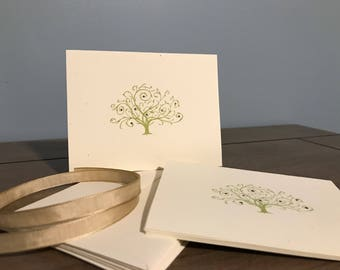 Blank Green Tree Set of 5 Notecards + Envelopes