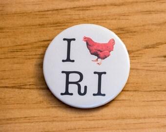 I Love RI Pinback Button - Rhode Island Red Pin