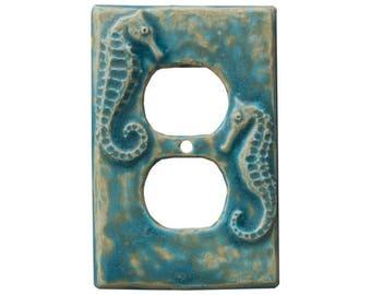 Seahorses Duplex Outlet in Aqua Stone Glaze