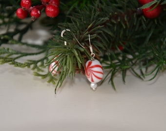 Peppermint Twist Earrings--Red, with Pearls