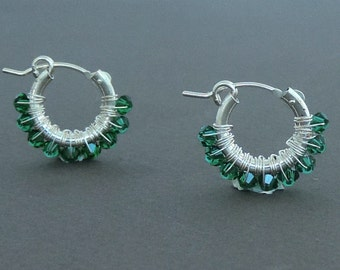 Emerald Hoop Earrings, Small Hoop Earrings, May Birthstone, Delicate Earrings, Gift For her, Sterling Silver, Women Gift, Girl's Gift