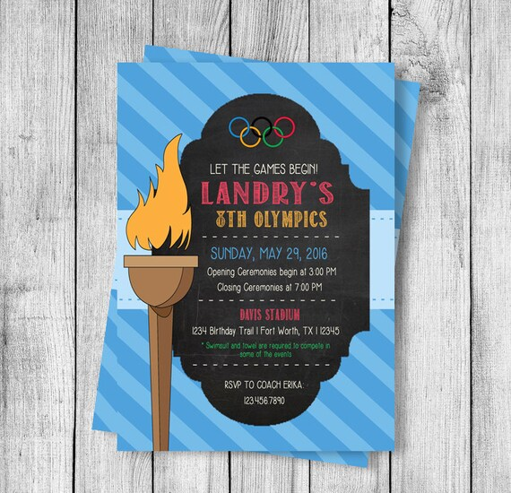 Olympics Party Birthday Invitation 5x7