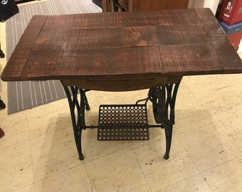Treadle Table With Solid Wood Dark Oak Top