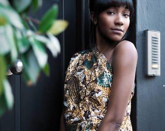 African Dress - African Wrap Dress - Wax Print Dress - Full Length Dress - Ankara Dress - African Clothing - Festival Dress - African Wrap