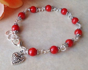 Heart Beaded Bracelet.Red Coral Stone.Small Bracelet.Bridal.Dainty.Valentine.Heart Charm.Anniversity.Graduation.Birthday.Gift.Handmade.