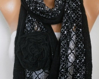 Black Floral Knitted Scarf,fall winter Scarf Shawl, Wrap Bridesmaid Gift Ideas For Her Women Fashion Accessories,Birthday Gift
