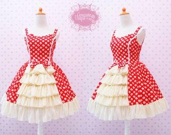 Red Daisy Flower Sweetheart Neckline Lolita Dress With Ruffled Yellow Chiffon Skirt - Classic Victorian Dress - Tea Party Dress