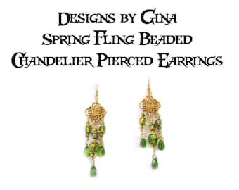 Spring Fling Beaded Chandelier Pierced Earrings DG0040E1  Handmade Original Designs by Gina Dangle Drop AB Green Beads Upcycle Recycle