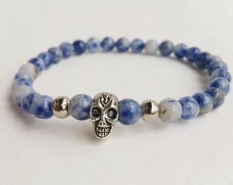 Mans blue bracelet - Beadead Bracelet - Gemstone Bracelet - stretch bracelet - beadwork bracelet - skull bracelet - gift for him - boho