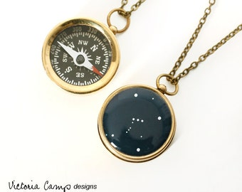 Orion Constellation Necklace with Small Working Compass, Brass Chain, Pocket Compass, Bridal Party Gifts