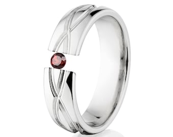 Tension Set Ring, 6mm, Uniquely You, Infinity, Garnet, 6HR-T8-Infinity
