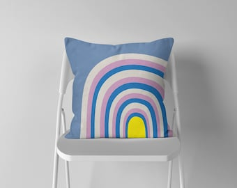 Rainbow Print Cushion - Pillow Gift - Throw Pillow - Nursery Decor - Soft Furnishings - Cushion Covers - Housewarming - Home Decor
