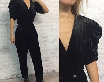 vintage 80s black velvet jumpsuit / disco jumpsuit / cocktail party one piece / ruched deep v neck pants jumpsuit