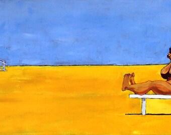 Original Acrylic painting (#1) of a cartoon beach scene in sunshine by Barry Baxter