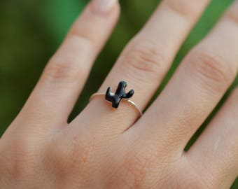 Black Cactus silver ring , enamel  sterling silver stacking ring, skinny silver stackable ring with cactus