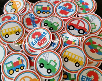 Transportation Birthday Party Mini Tags / Use for Confetti or Make Cupcake Toppers / Cars, Trucks, Airplane, School Bus & Train / Set of 75