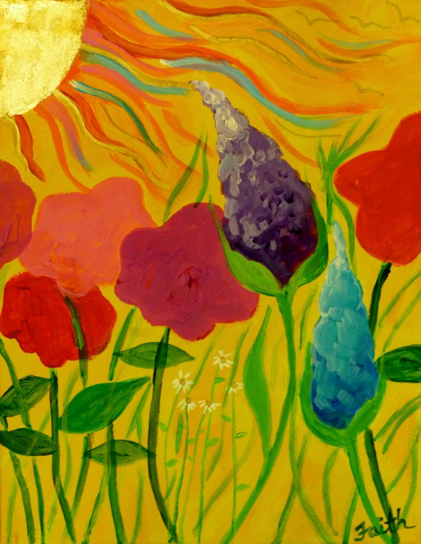 Flowers Sunbathing 14x11 flower painting whimsical art