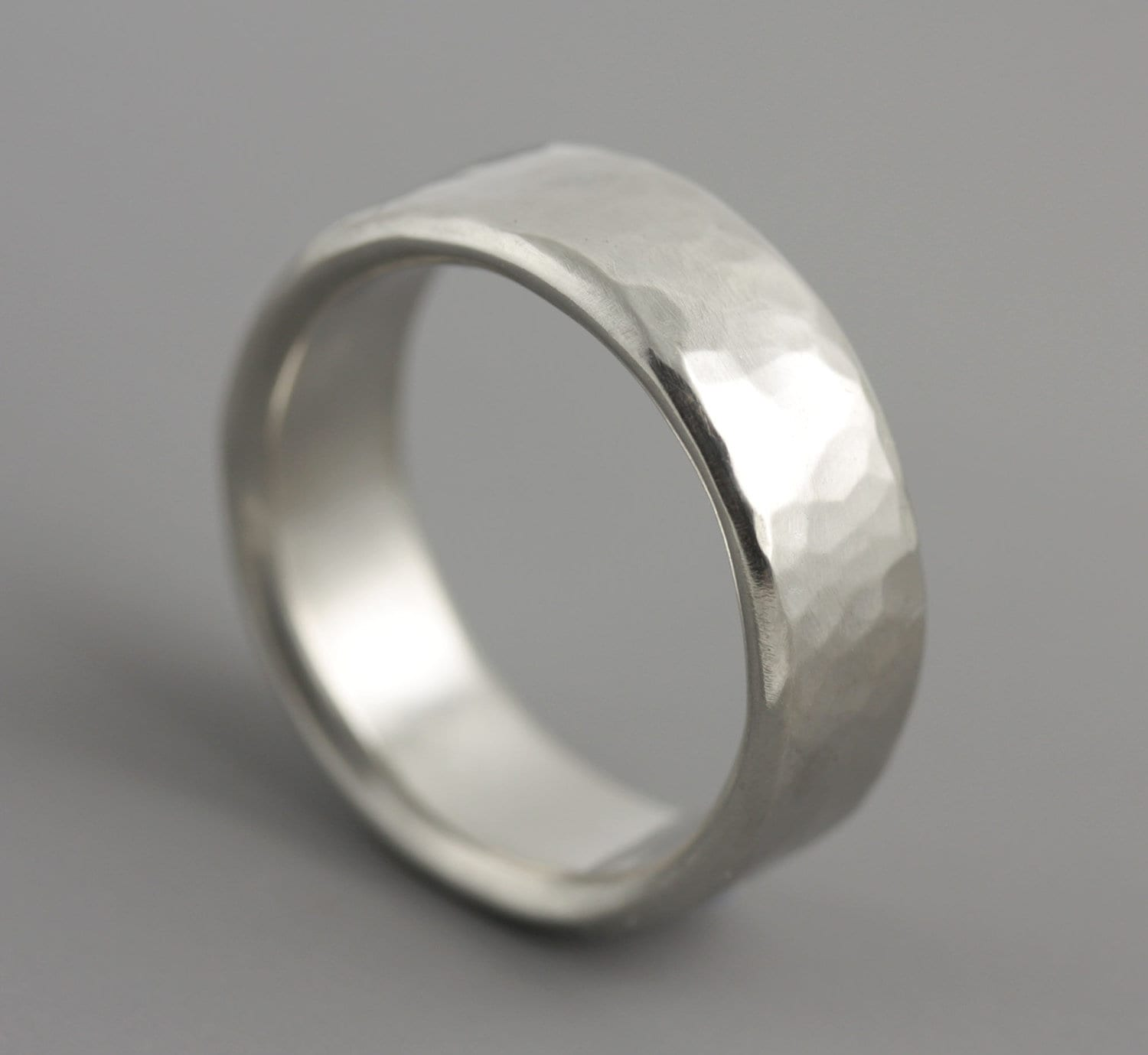 Mans Hammered Palladium Wedding Ring Classic Mens Wide