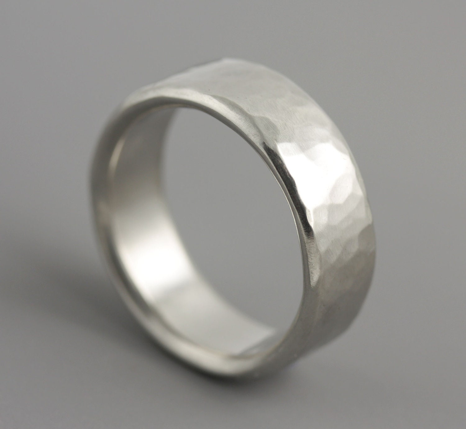 Popular Man's Hammered Palladium Wedding Ring Classic Mens Wide NS08
