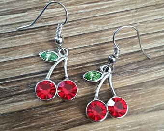 Pretty Sparkling Cherry Earrings