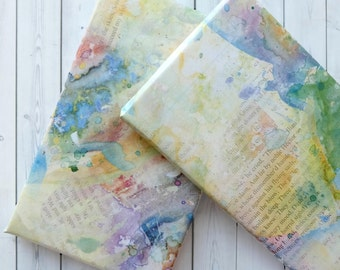 Wrapping Paper Sheets - Gift Wrap - Pastel Wrapping Paper - Wrapping Paper - Book Page And Pastel Watercolour Blot Design
