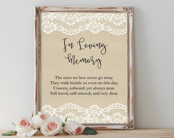 In Loving Memory Sign Printable Wedding Memorial Sign Rustic Wedding Memory Sign Boho Memorial Sign Reception Signage Wedding Decor