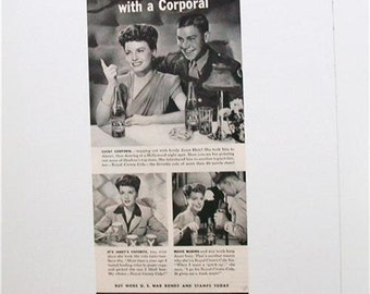 Vintage ROYAL CROWN COLA Ad 1943 Janet Blair WW2 Soda Pop Ephemera Frameable Art Magazine Ad
