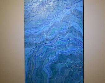 Blue Seascape - Blue Abstract Wall Art - Beach Artwork Original Painting - Nautical Art  - Abstract Art  Blue Painting  Blue Ocean Painting