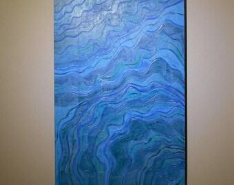 Blue Beach Art Wood Coastal Decor Nautical