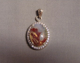Scenic Moss Agate Pendant with faux Diamonds
