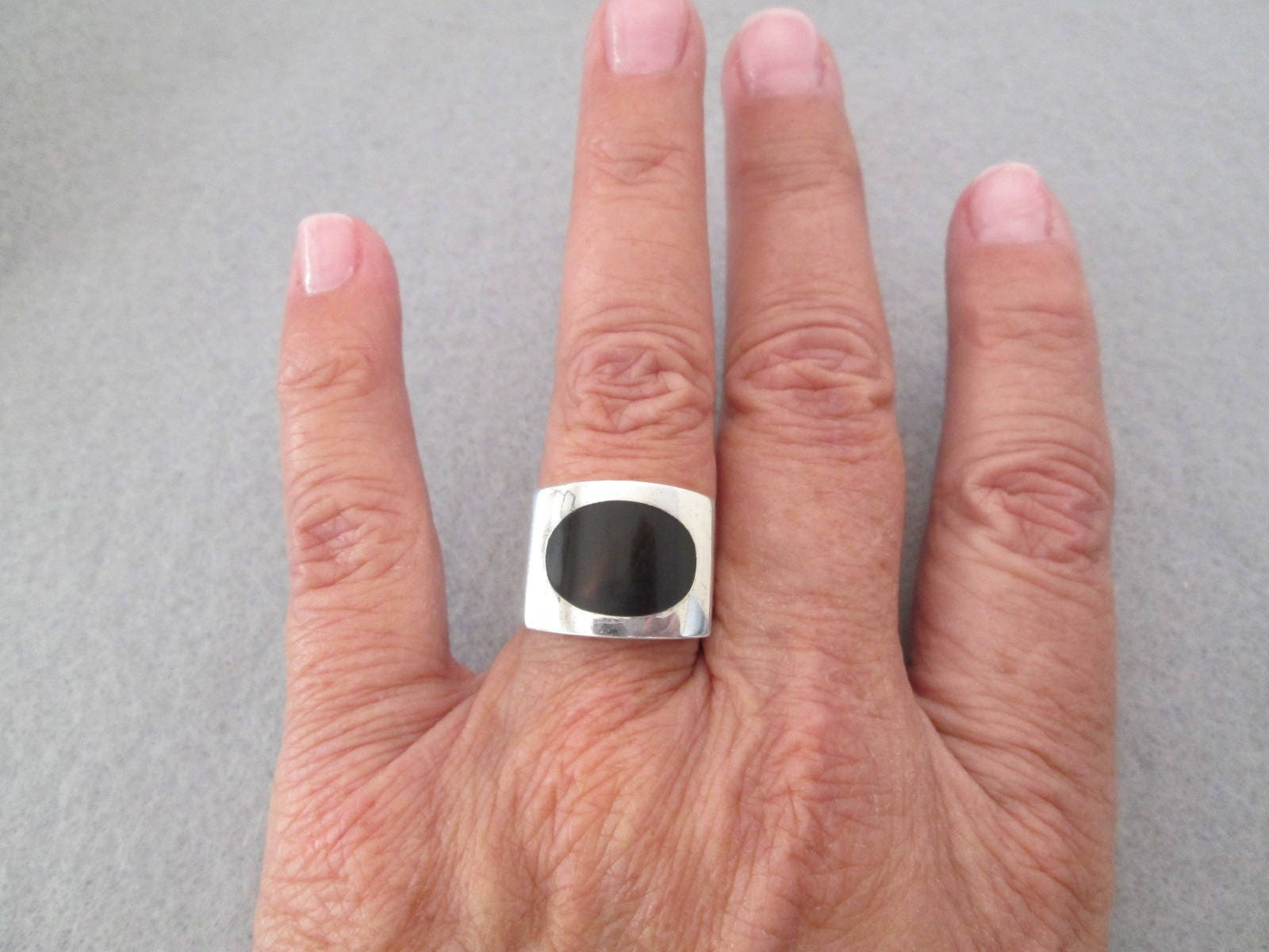 Made in Spain Fabulous Sterling Silver Ring with Petrified