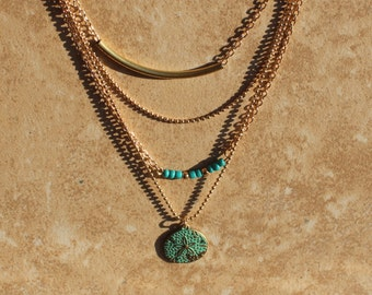 Gold 4 Layer Necklace, Turquoise, Sand dollar, Layered Necklace Set, Minimalist Jewelry, Inarajewels