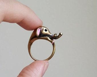 Elephant ring, Custom Colored Animal Wrap ring,  Birthday Gift