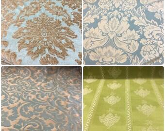 Aqua Green Buttercream Beige Blue Lime Green Chartreuse Damask Brocade Medallion Upholstery Drapery Fabric Velvet Velvet Chenille ST