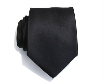 Black Silk Men Necktie With *FREE* Matching Pocket Square Set