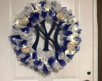 New York Yankees Baseball Wreath with Lights