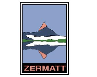 Postcard - Zermatt, Switzerland, greeting card, decorative stationery, vintage, retro card card
