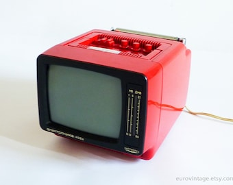 """Vintage 5"""" Portable TV Small Red TV Vintage Television 70s"""